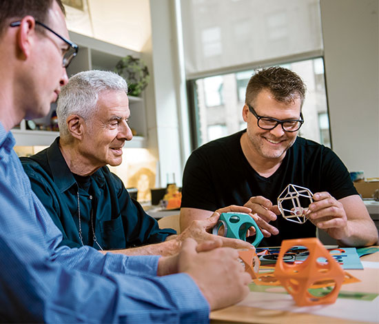 architect Richard Dattner and colleagues creating models of PlayCube climbing units